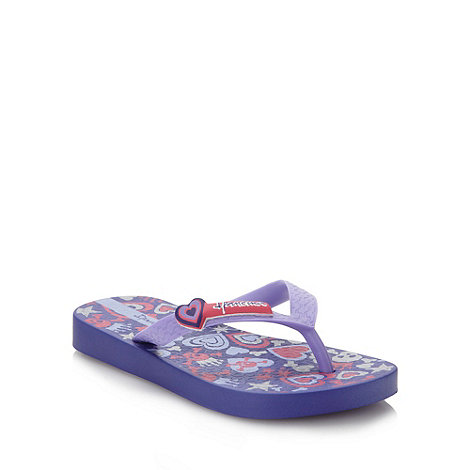 Ipanema - Girl+s purple skull and crossbones printed flip flops