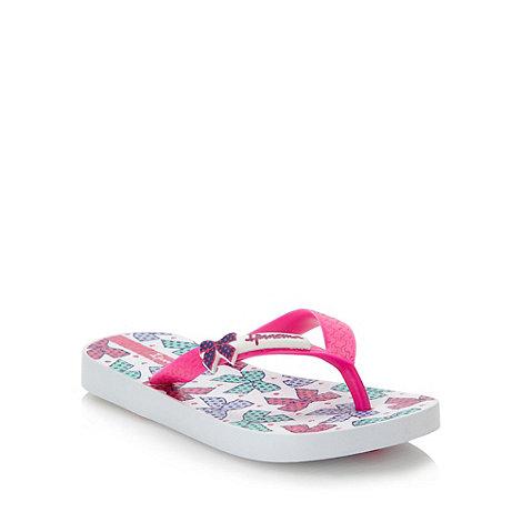 Ipanema - Girl+s white bow printed flip flops