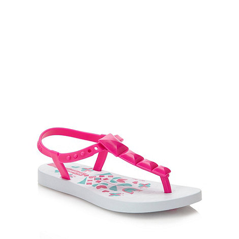 Ipanema - Girl+s bright pink floral printed flip flops