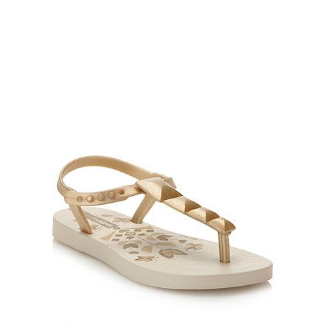 Ipanema - Girl+s gold floral printed flip flops