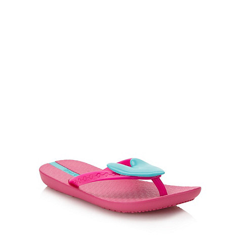 Ipanema - Girl+s pink applique heart flip flops