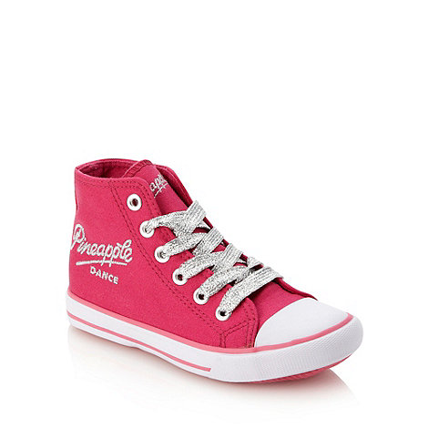 Pineapple - Girl+s pink vulcanised high top trainers