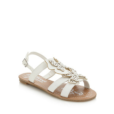 bluezoo - Girl+s white cut out butterfly sandals