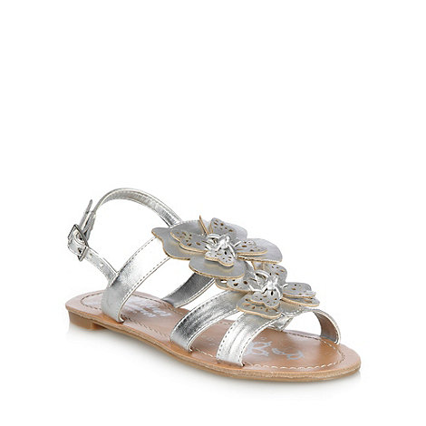 bluezoo - Girl+s silver cut out butterfly sandals