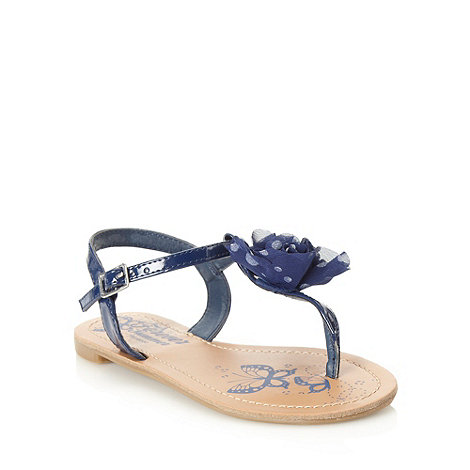 bluezoo - Girl+s navy dotted corsage sandals
