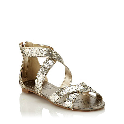 bluezoo - Girl's silver glitter gladiator sandals