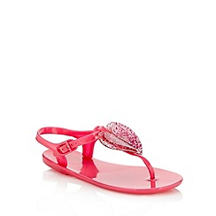 bluezoo - Girl's pink glitter heart jelly sandals