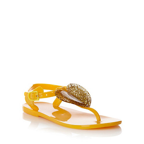bluezoo - Girl+s yellow glitter heart sandals
