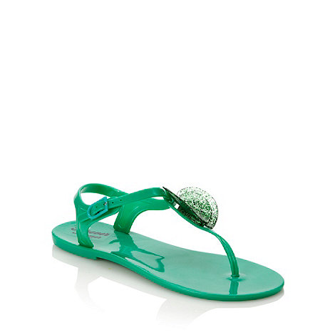 bluezoo - Girl+s green glitter heart sandals