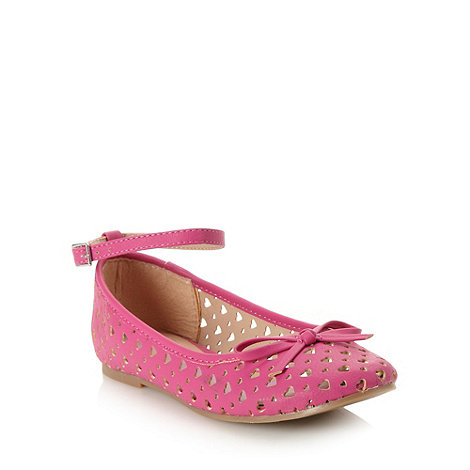 bluezoo - Girl+s pink cut out heart pumps