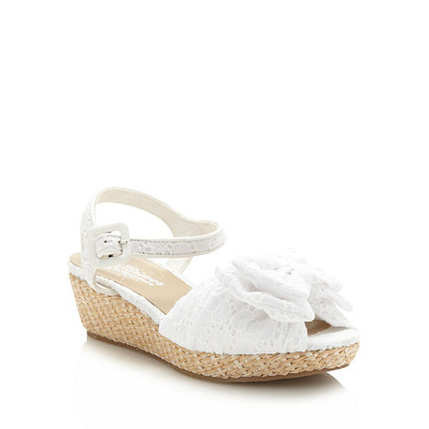bluezoo - Girl+s white bow wedge sandals