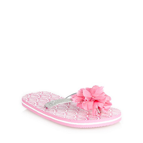 Mantaray - Girl+s pink metallic flower flip flops
