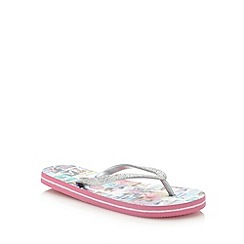Mantaray - Girl's pink photograph printed flip flops