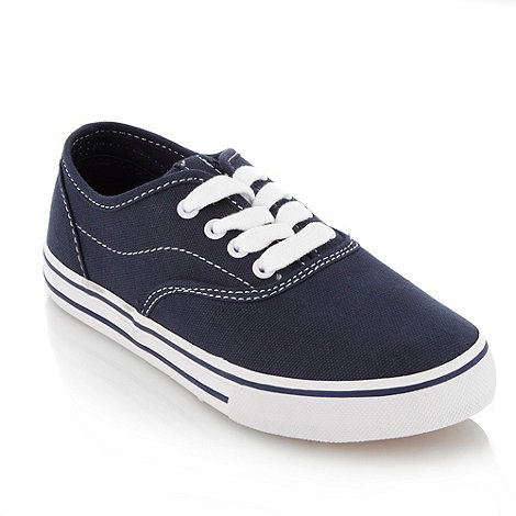 bluezoo - Boy+s navy lace up canvas trainers