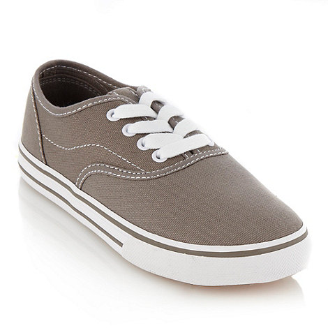 bluezoo - Boy's grey lace up canvas trainers