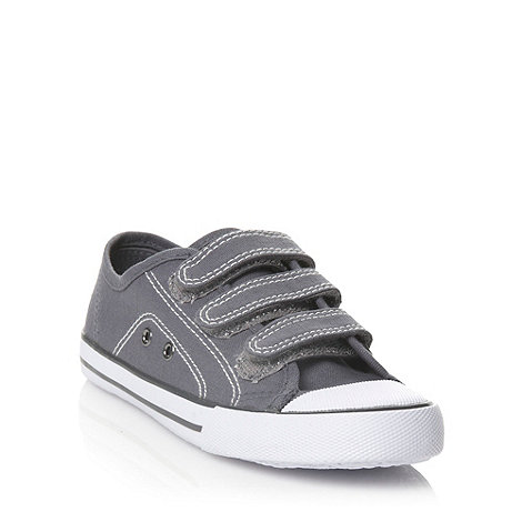 bluezoo - Boy+s grey fastening canvas trainers