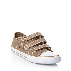 bluezoo - Boy's tan fastening canvas trainers