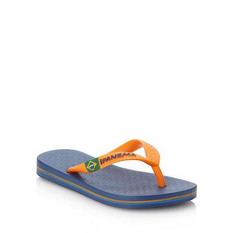 Ipanema - Boy+s navy classic logo flip flops