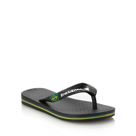 Ipanema - Boy+s black classic logo flip flops