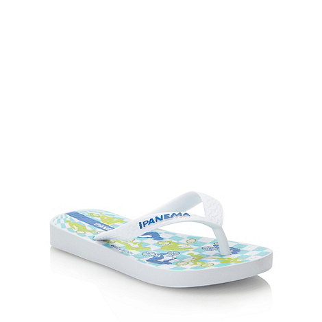 Ipanema - Boy+s white cyclist printed flip flops