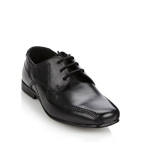 bluezoo - Boy+s black leather lace up shoes