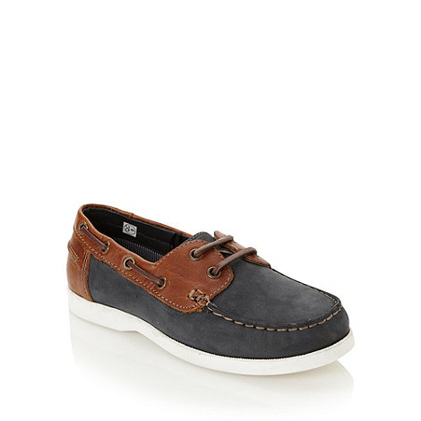 bluezoo - Boy+s navy leather boat shoes