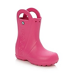 Crocs - Girl's bright pink handle wellies