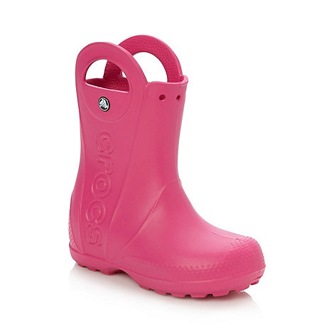 Crocs - Girl+s bright pink handle wellies