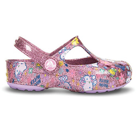 Crocs - Girl+s pink glitter shoes