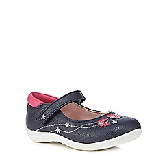 bluezoo - Girls' navy embroidered shoes