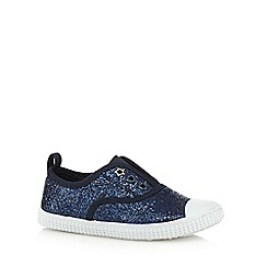 bluezoo - Girls' navy glitter lace free shoes