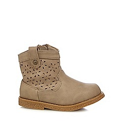 Mantaray - Girls' beige flower cut-out boots