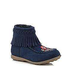 Mantaray - Girls' navy tasseled embroidered ankle boots