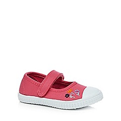 bluezoo - Girls' pink embroidered flower Mary Jane shoes