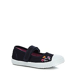bluezoo - Girls' navy embroidered flower Mary Jane shoes