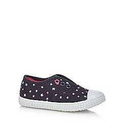 bluezoo - Girls' navy star print lace free trainers