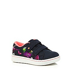 Baker by Ted Baker - Girls' navy floral print ritape tennis trainers