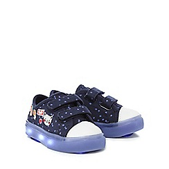 bluezoo - Girls' navy cat floral print light up trainers