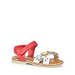 bluezoo - Girls' white and red floral applique sandals
