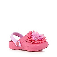 bluezoo - Girls' pink floral applique clogs