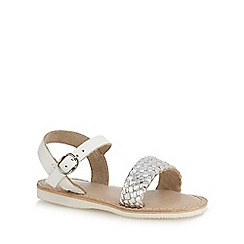 Mantaray - Girls' silver leather woven sandals