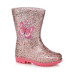 bluezoo - Girls' pink butterfly glitter wellies