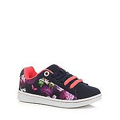 Baker by Ted Baker - Girls' navy floral print lace up tennis trainers