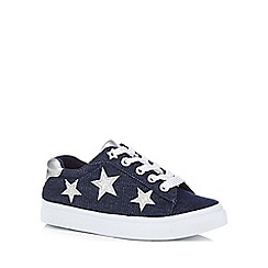 bluezoo - Girls' navy flatform star print trainers