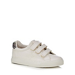bluezoo - Girls' white star embellished three tab trainers