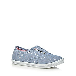bluezoo - Girls' blue star print lace free trainers