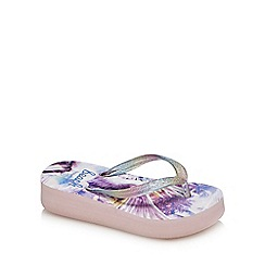 bluezoo - Girls' lilac glitter unicorn print wedge flip flops
