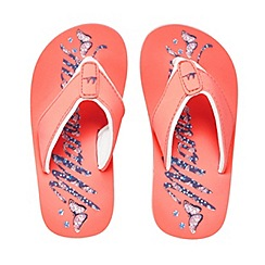 Mantaray - Girls' pink logo print flip flops