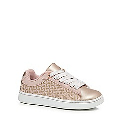 Baker by Ted Baker - Girls' pink embossed lace up trainers