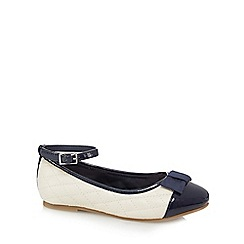 J by Jasper Conran - Girls' white and navy quilted slip-on shoes